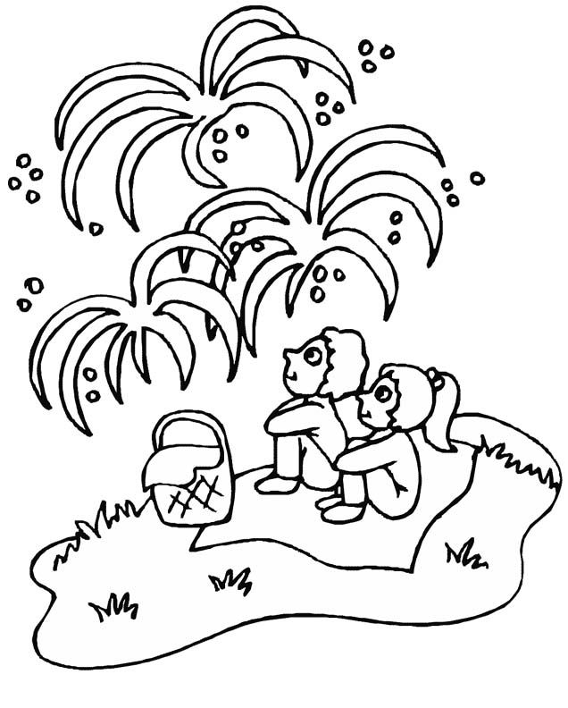4th Of July Coloring Pages Watching Fireworkds