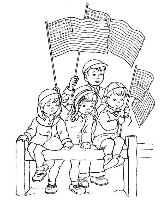 4th Of July Coloring Pages Watching Parade