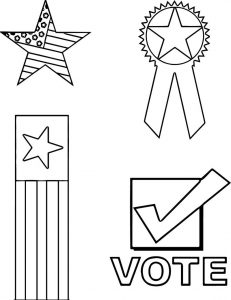 4th of july vote flag star coloring page