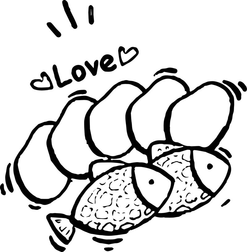 5 Loaves And 2 Fish Love Coloring Page