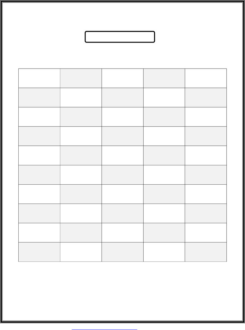 50 Number Chart Blank