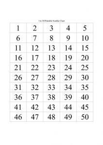 50 number chart printable