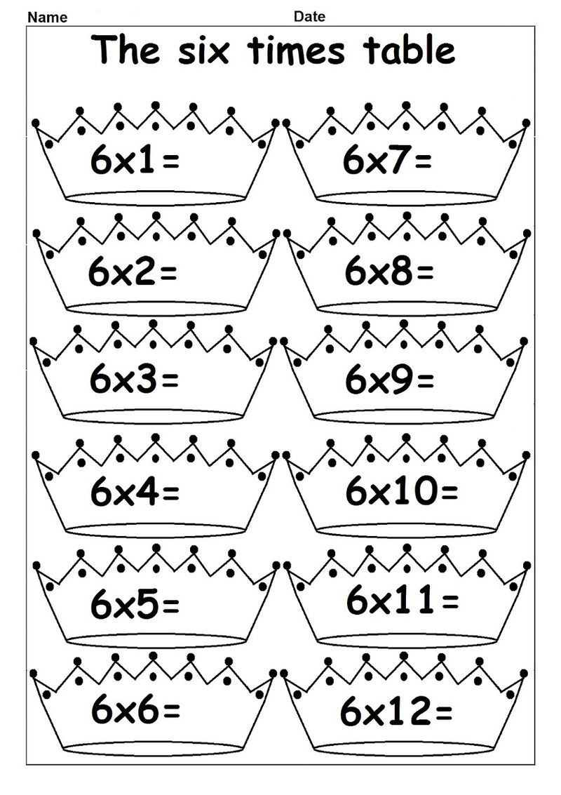 6 Times Tables Worksheets For Kids