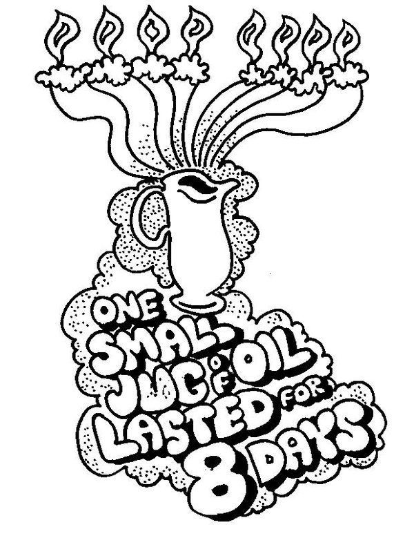 8 Days Of Oil Hanukkah Coloring Pages
