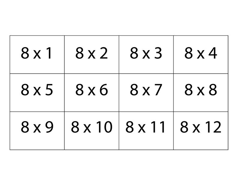 8 Times Table Worksheet Table