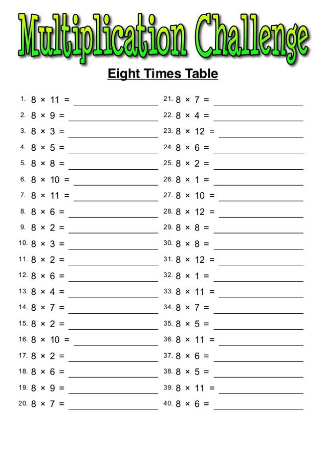 8 Times Tables Worksheets For Kids
