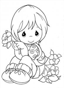 999 Coloring Pages - Little Girl Holding A Flower Coloring Pages for Kids Printable Coloring Pages Coloring Sheets 13e