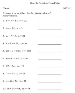 9th grade math worksheets equation