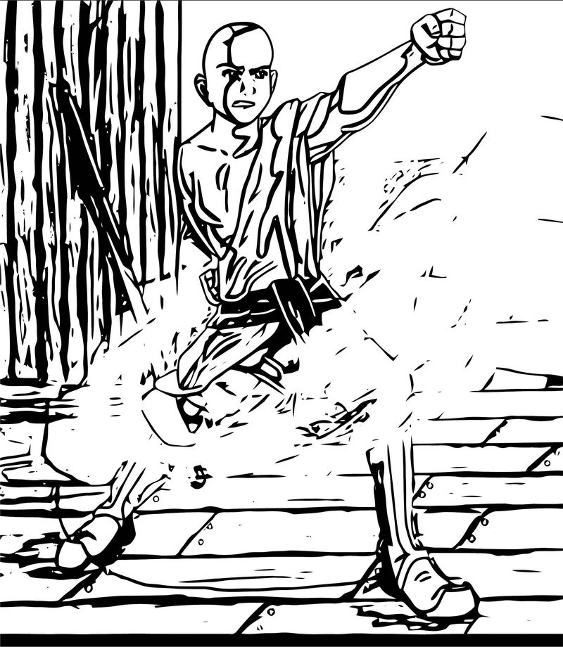 A For Aang X Avatar Aang Coloring Page