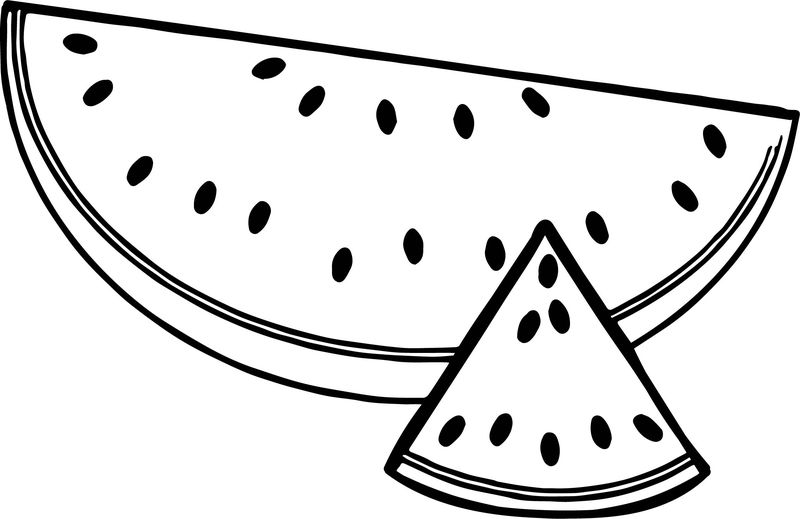 A Sliced Summer Watermelon Half And Triangle Coloring Page