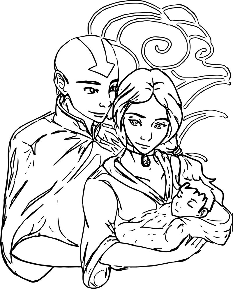Aang And Katara Couple X Avatar Aang Coloring Page