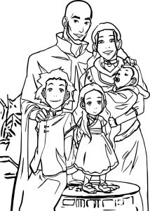 Aang and kataras family portrait avatar coloring page
