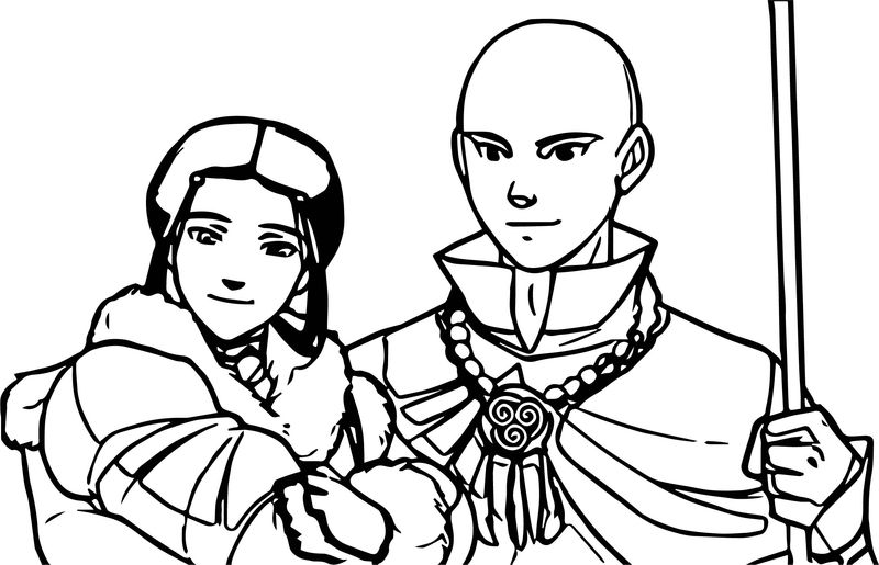 Aang And Kataras Future Avatar Aang Coloring Page