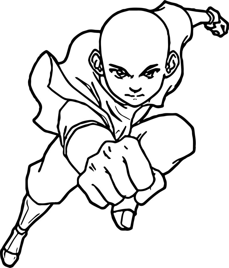 Aang Avatar Punch Coloring Page