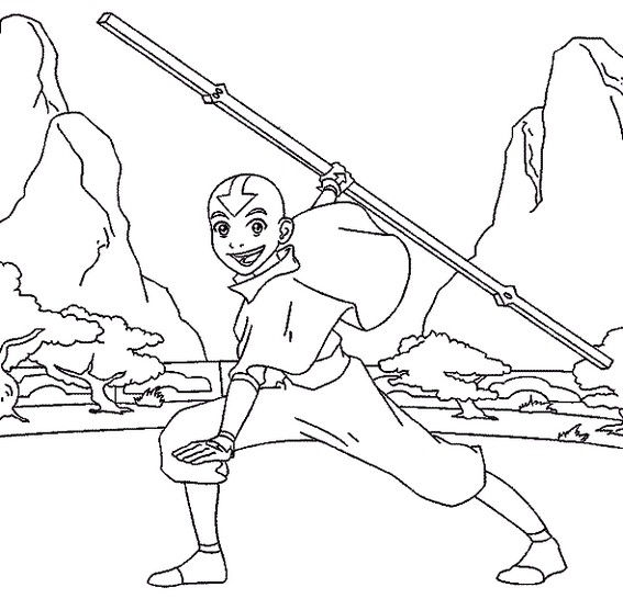 Aang Defeating Enemies With His Wits Avatar The Last Airbender Coloring Page