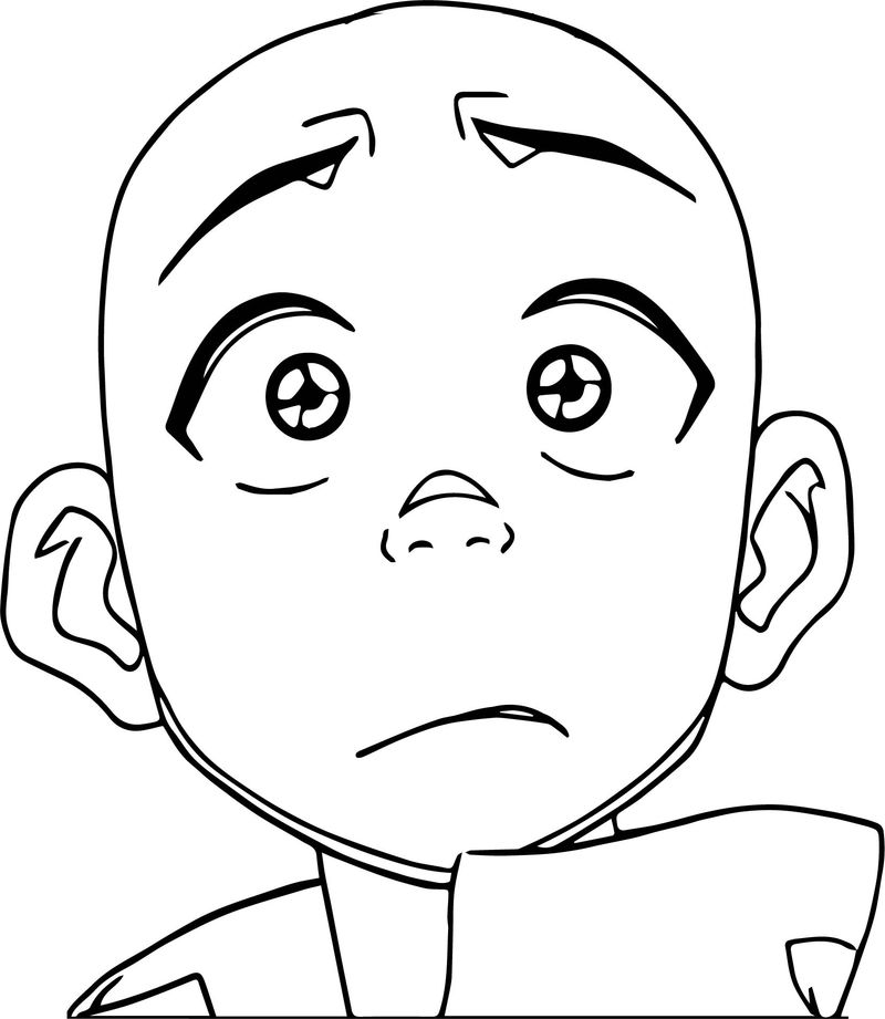 Aang Face Avatar Coloring Page