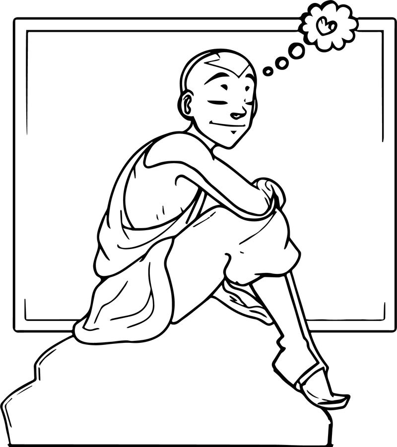 Aang Happy Thoughts Crusanite Avatar Aang Coloring Page