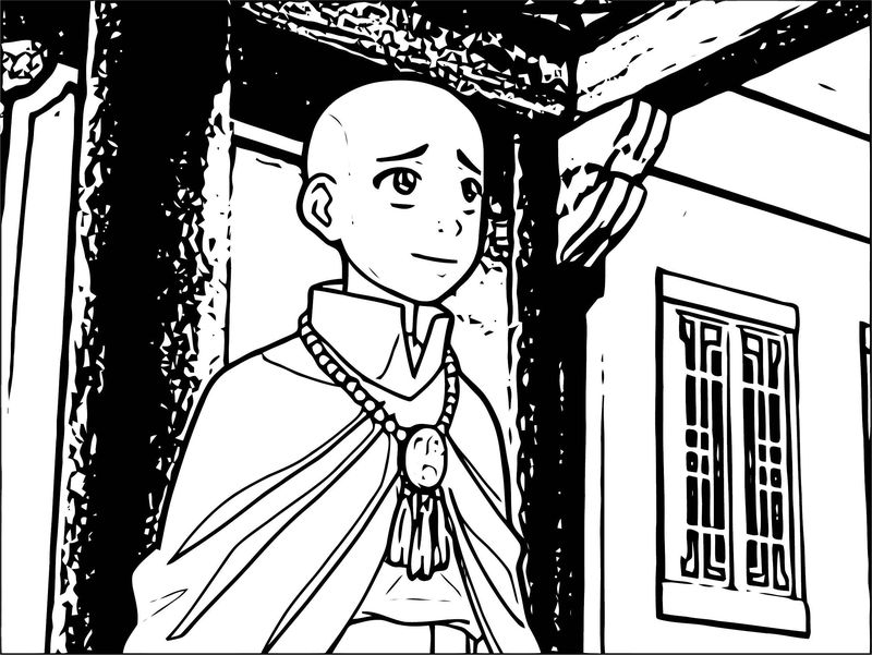 Aang In Monk Robes Avatar Aang Coloring Page