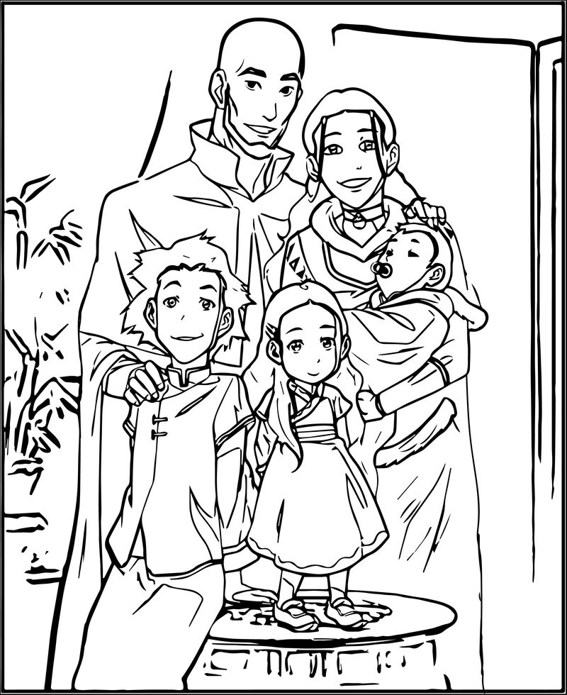 Aang Katara And Their Children Avatar Aang Coloring Page