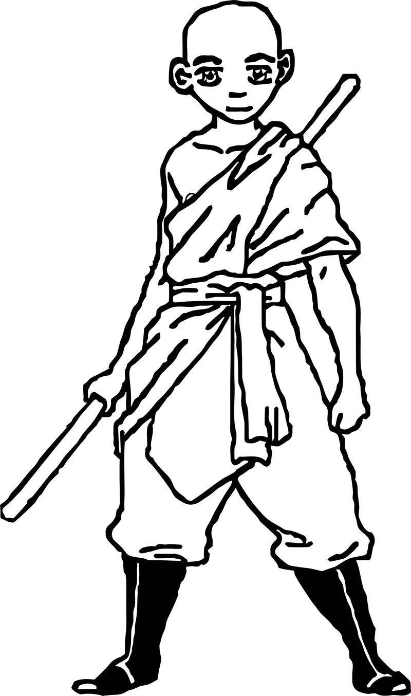 Aang New Clothes Avatar Aang Coloring Page