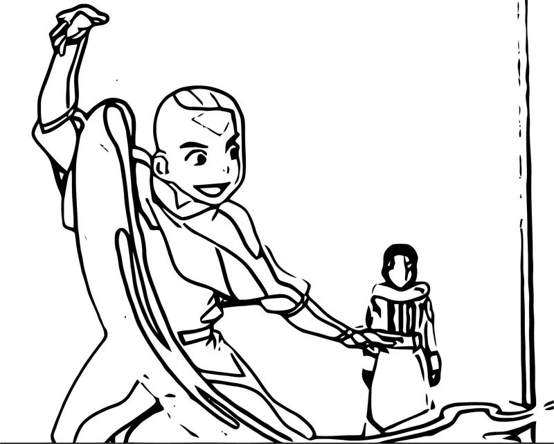 Aang Teaches Katara Avatar Aang Coloring Page
