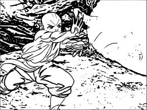 Aang testing his airbending on the lion turtle avatar aang coloring page