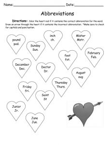 Abbreviations valentines holiday worksheet