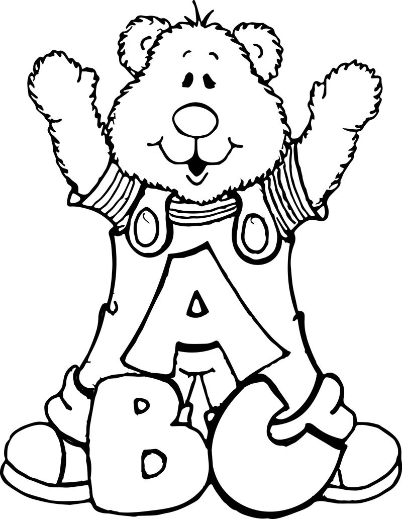 Abc Bear Bears Teddy Bears And Letters Coloring Page