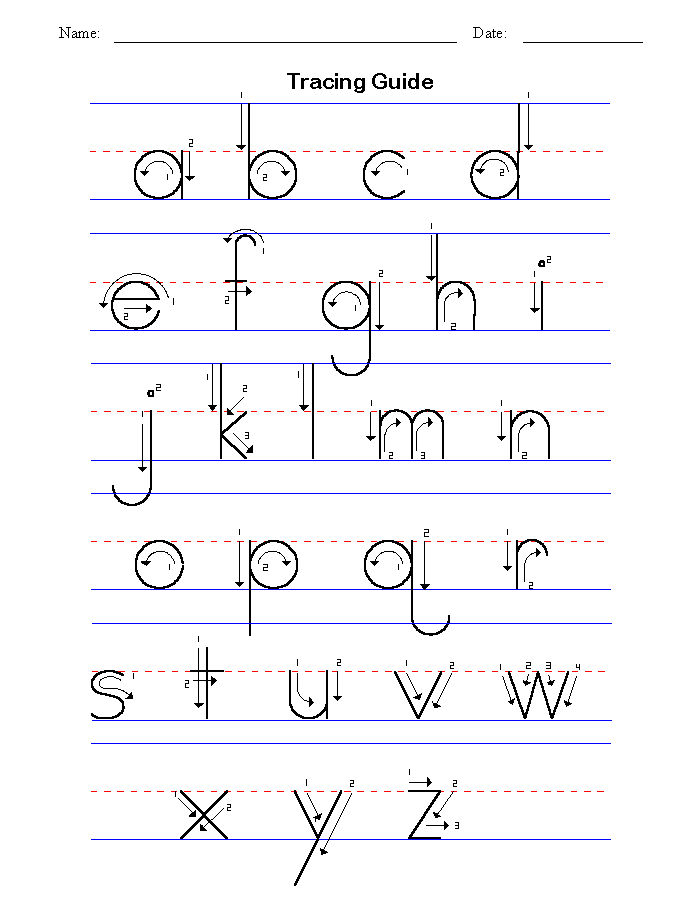 Abc Tracing Sheets Preschool Lowercase 2016