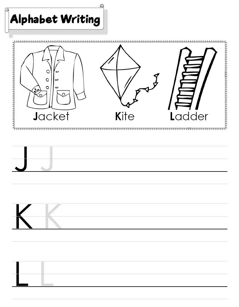 Abc Writing Worksheets For Kindergarten Simple