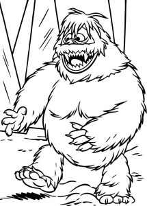 Abominable snowman happy coloring page