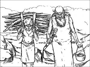 Abraham and sarah carrying straw sketch coloring page