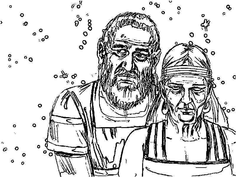 Abraham And Sarah Old Sketch Coloring Page
