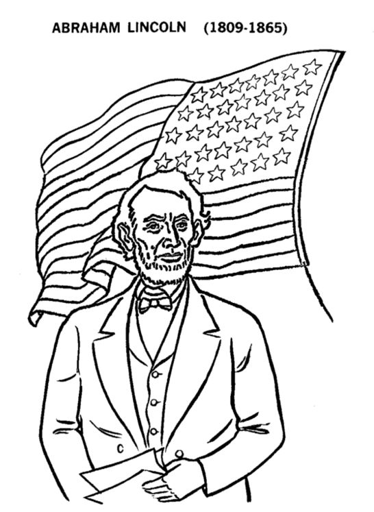 Abraham Lincoln 16th President Coloring Sheet