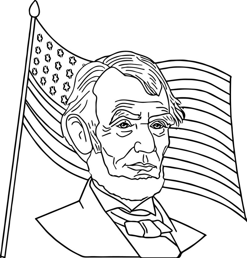Abraham Lincoln President America Coloring Page