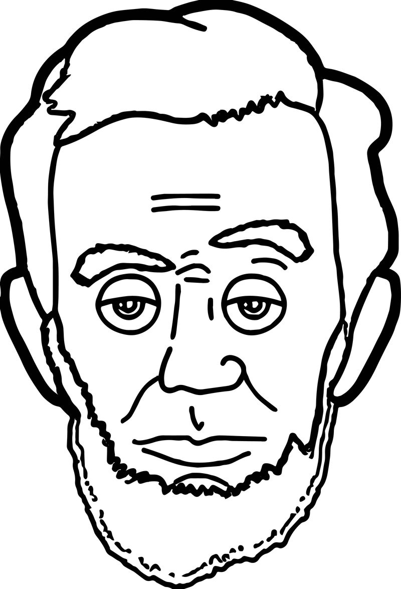 Abraham Lincoln President Face Coloring Page