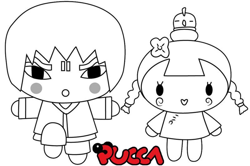 Abyo And Ching The Characters Of Pucca Coloring Page