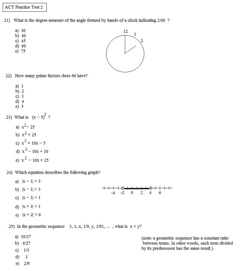 Act Printable Practice Math Problems