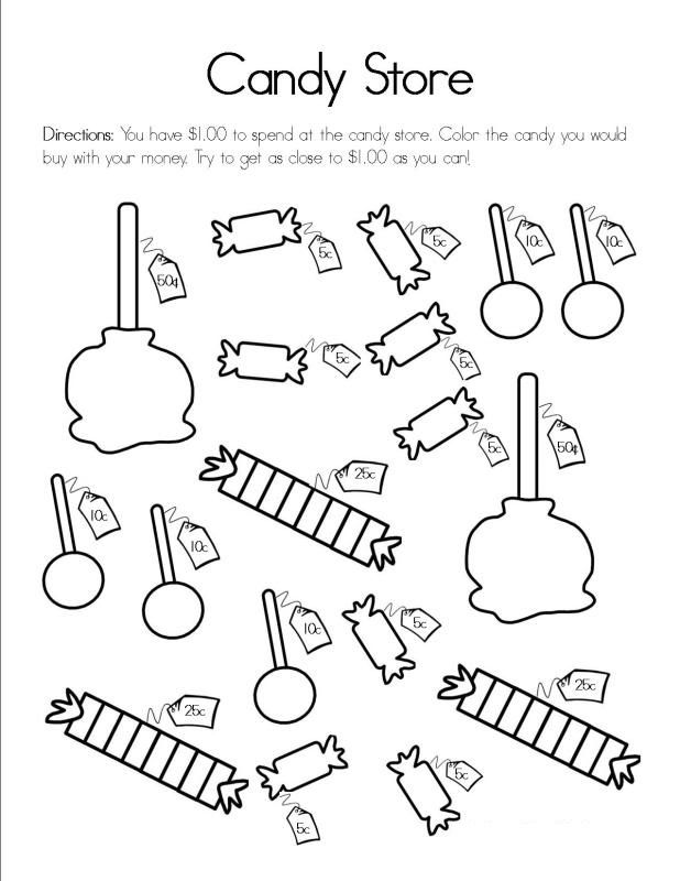Activity Sheet For Kids Candy