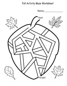Activity worksheets for kids maze