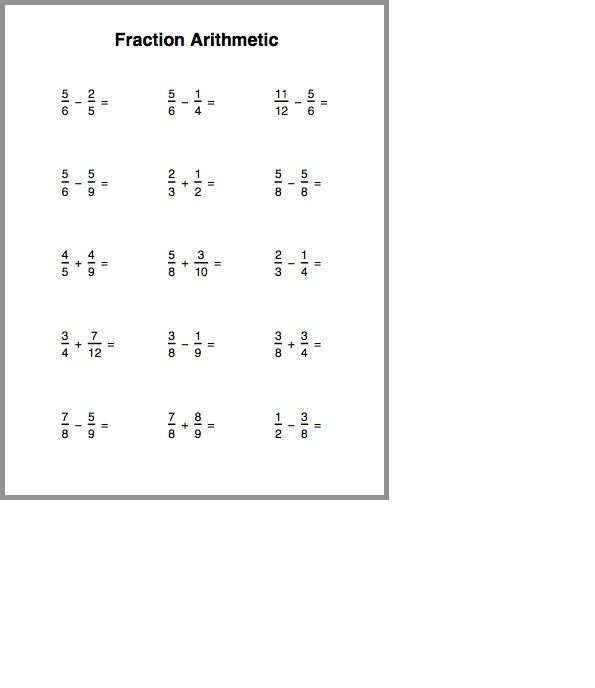 Addition And Subtraction Fraction Worksheets