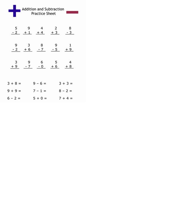Addition And Subtraction Practice Worksheets