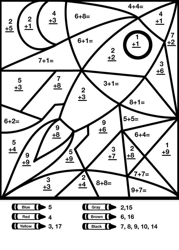 Addition Color By Number Math Coloring Sheet