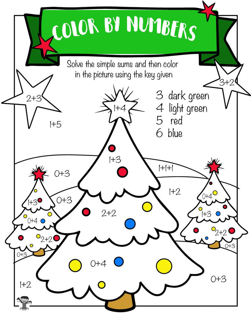 Addition Coloring Worksheets Christmas