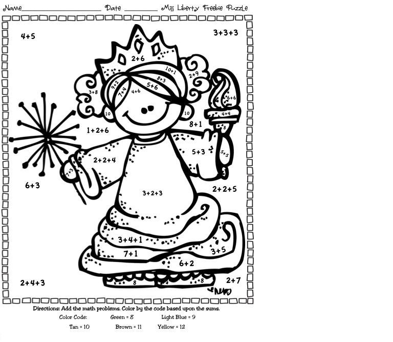 Addition Coloring Worksheets For First Grade