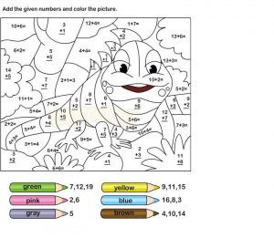Addition coloring worksheets free
