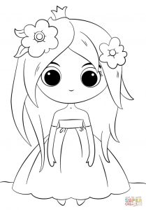 Adorable cartoon princess coloring page