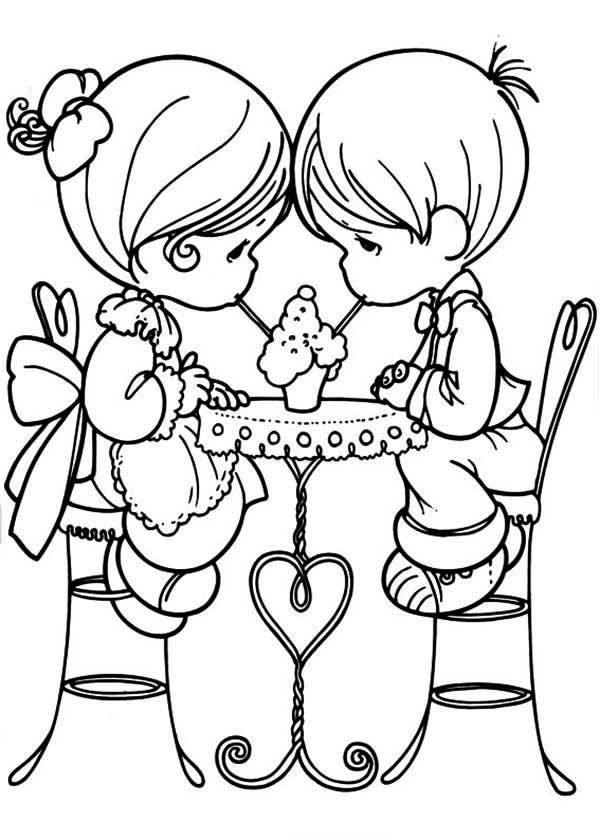 Adorable Children Valentines Day Coloring Pages