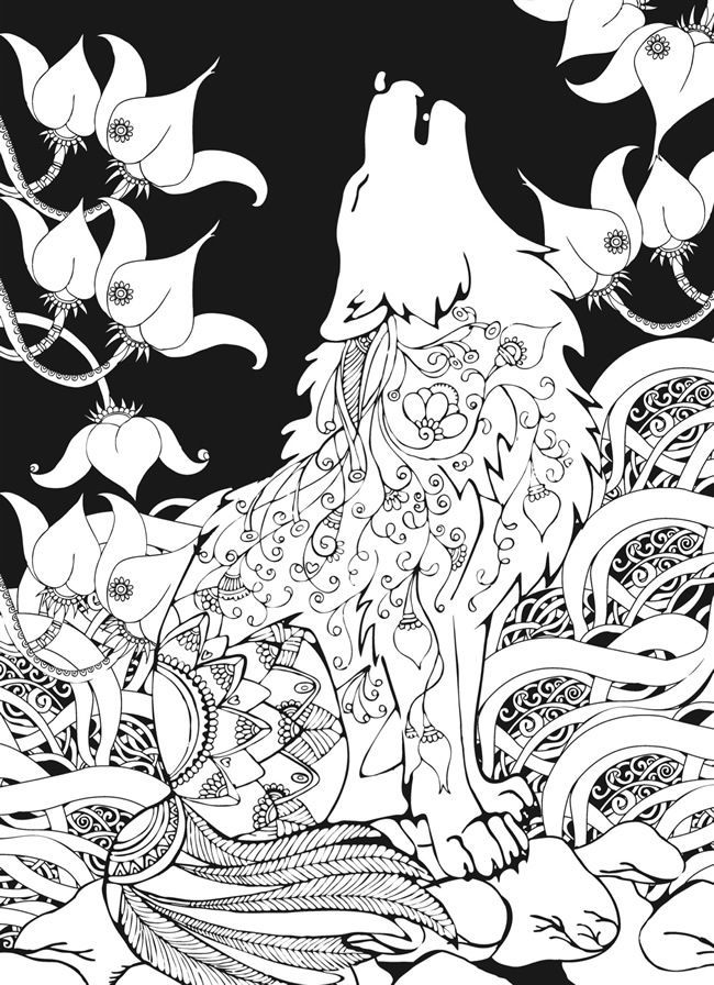 Adult Coloring Pages Wolf