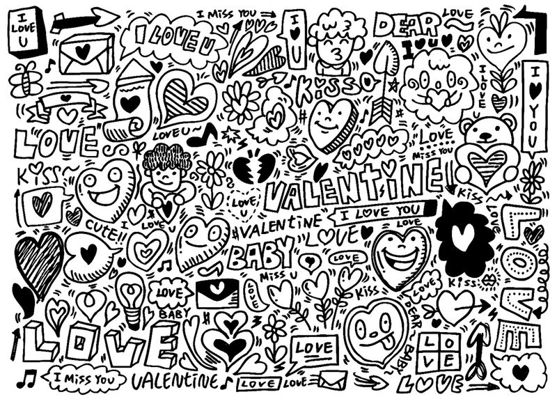 Adult Doodles Valentines Day Coloring Pages
